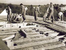 Baustelle der OSG in den 1950ern